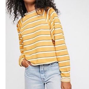 Free People Something Simple Striped Mock Neck Top